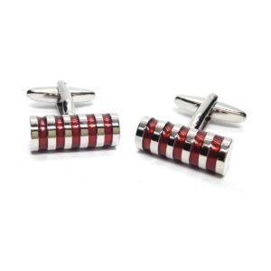 Red diagonal striped cyclinder cufflinks