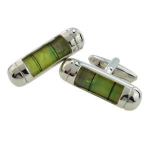 Green spirit level cufflinks