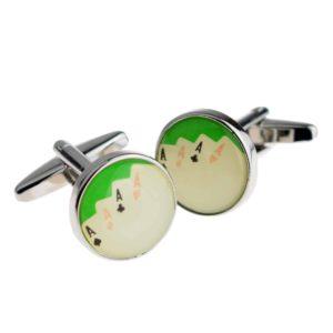 Green four aces cufflinks