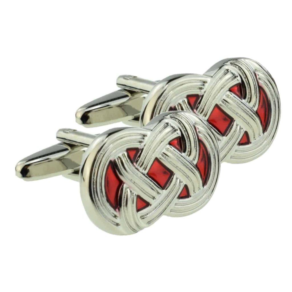 Red Celtic cross cufflinks