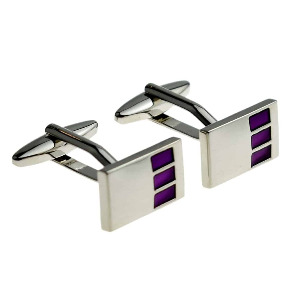 Rectangular cufflinks with purple highlights