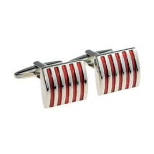 Red And Silver Striped Cufflinks