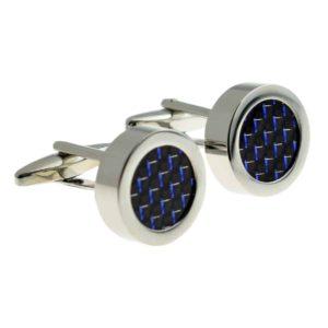 Black & Blue Carbon Fibre-look Cufflinks