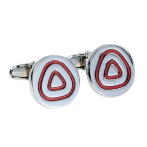 Round Silver and Red Triangular Cufflinks